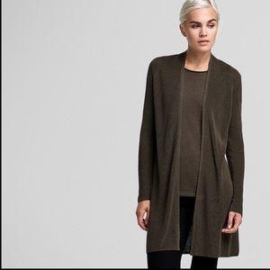 Eileen fisher long olive green cardigan sz M #A0